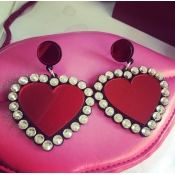 Fashion Heart Shaped Red Acrylic Earrings