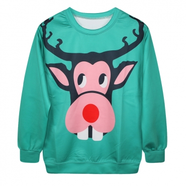 Fashion Print Long Sleeves Polyester Pullover