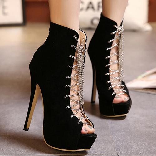 Fashion Round Peep Toe Lace-up Stiletto Super High Heel Black PU Basic Pumps