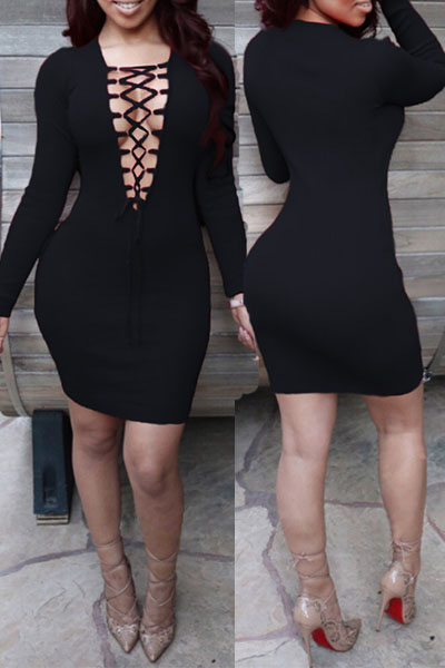 Sexy V Neck Long Sleeves Front Lace-up Hollow-out Black Sheath Knee Length Dress