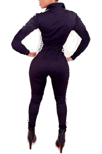 Casual Long Sleeves Patchwork Black Polyester One-piece Skinny Jumpsuits