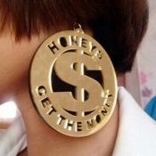 Fashion Dollar Symbal Shaped Gold Acrylic Earrings