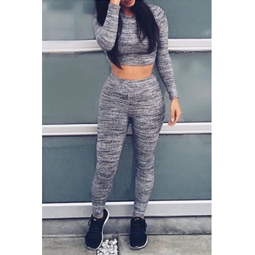 Casual O Neck Long Sleeves Grey Knitting Two-piece Pants Set