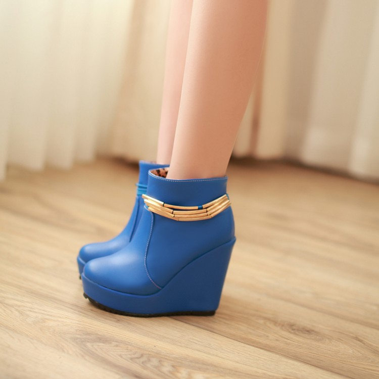 Stylish Winter Round Toe Zipper Design Super High Wedge Blue PU Ankle Martens Boots