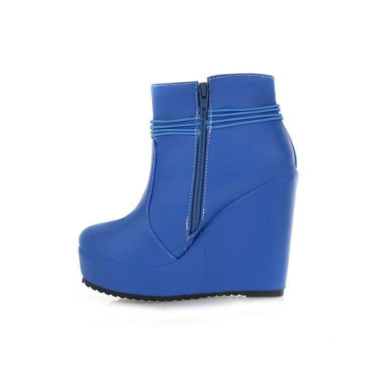 Stylish Winter Round Toe Zipper Design Super High Wedge Blue PU Ankle Martens Boots