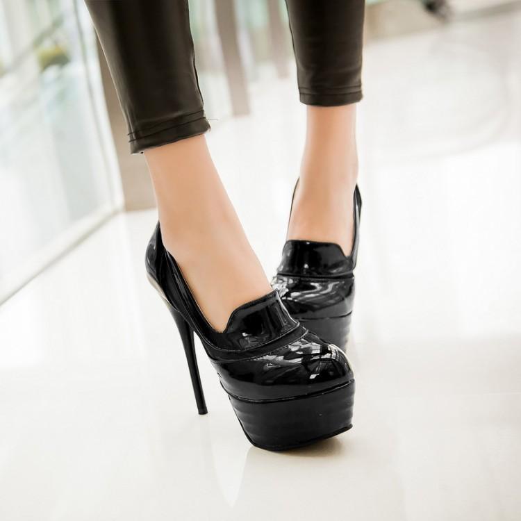 Fashion Round Closed Toe Stiletto Super High Heels BLack PU Pumps