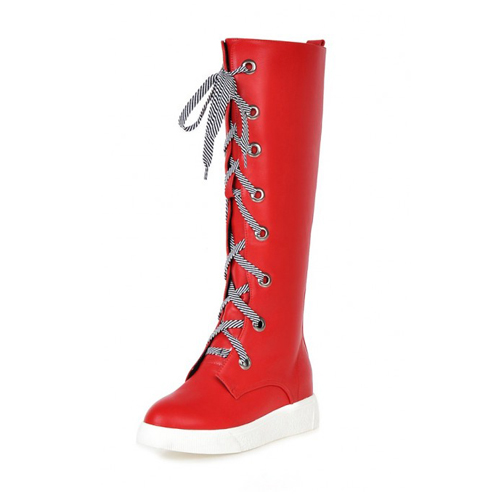 Moda Primavera Outono Rodada Toe Lace Up Flat Low Heel Vermelho PU Knee High Boots