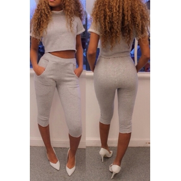 Casual O Neck Short Sleeves Grey Cotton Blend Two-piece Pants Set