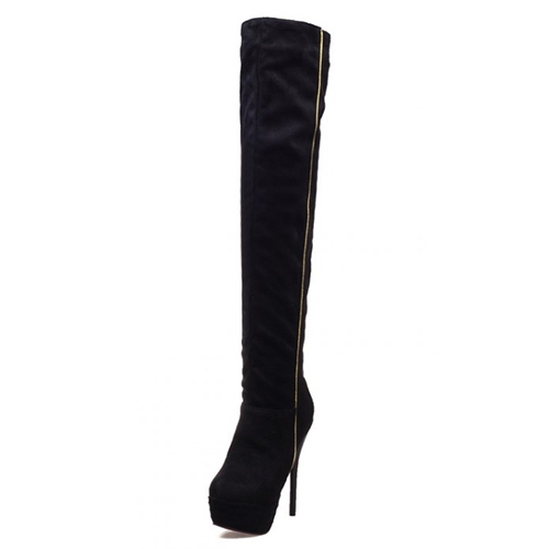 Fashion Winter Round Toe Slip On Patchwork Stiletto Super High Heel Black PU Over The Knee Cavalier Boots