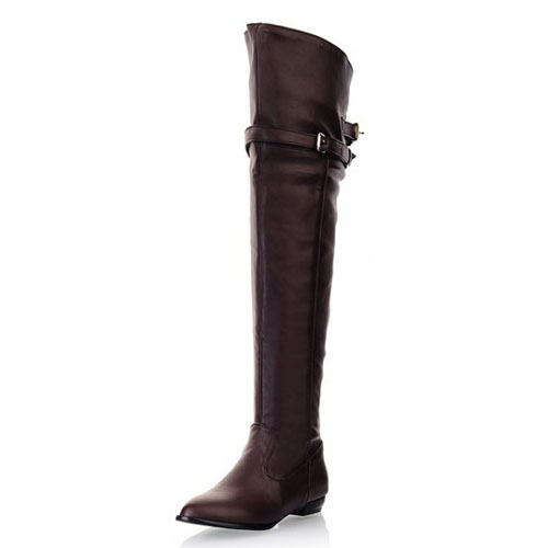 Winter Round Toe Slip On Buckle Decorated Flat Low Heel Brown PU Over The Knee Cavalier Boots