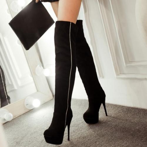 Fashion Winter Round Toe Slip On Patchwork Stilett