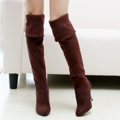 Winter Fashion Round Toe Slip on Stiletto High Hee