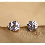 Fashion Twist Triangle Shaped Silver Metal Earring