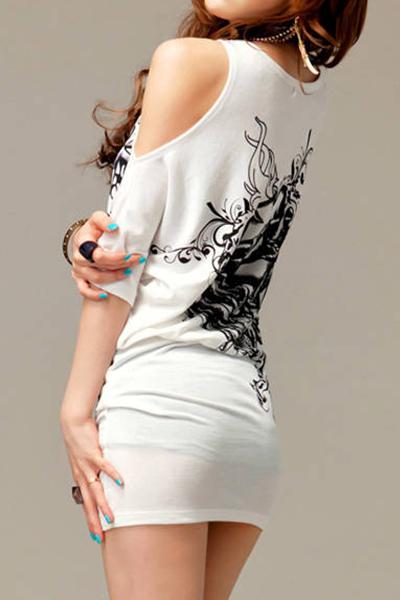 Fashion Woman O Neck Short Sleeve Floral White Cotton T-Shirt