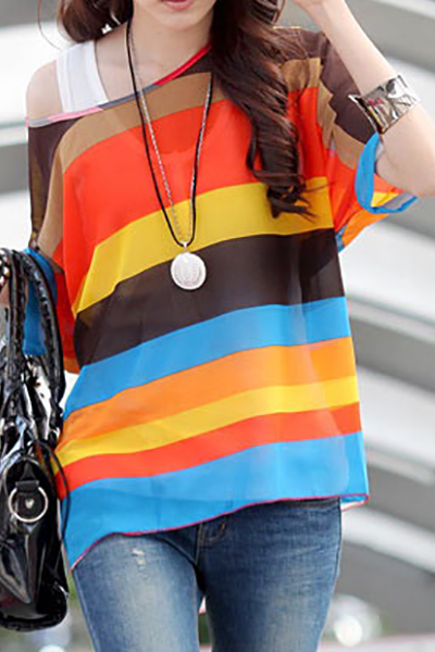 Bohemia O Neck Short Sleeve Striped  Chiffon Blouse