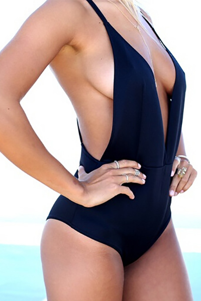 Cheap Sexy V Neck Backless Solid Black One-piece Swimwear