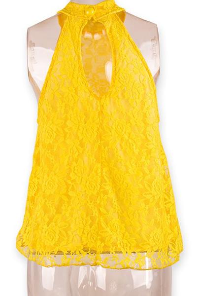 Cheap Sexy Sleeveless Back Split Solid Yellow Lace Shirt