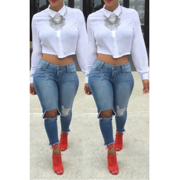 Casual Turndown Collar Long Sleeves Solid White Blending Shirt