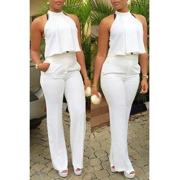 Trendy Halter Neck Sleeveless Drapes Design White Polyester Two-piece Pants Set