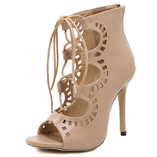 Fashion Round Peep Toe Lace-up Hollow-out Stiletto Super High Heel Apricot PU Basic Pumps