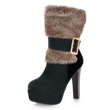 Moda Winter Round Toe Slip On Buckle Chunky Super High Heel Verde PU Short Martin Botas