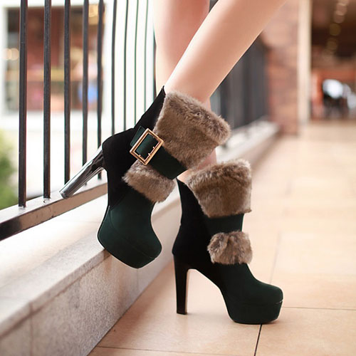 Fashion Winter Round Toe Slip On Buckle Chunky Super High Heel Green PU Short Martin Boots