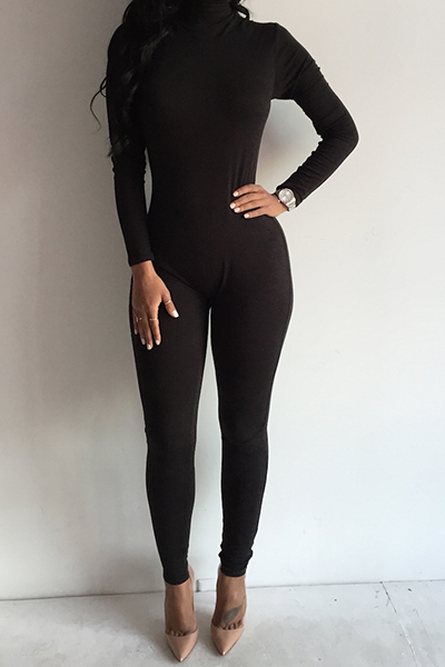 Solid Color Turtleneck Long Sleeves Black Cotton Blend One-Piece ...