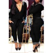 Womens Fashionable Hooded Long Sleeve V-Neck Jumps