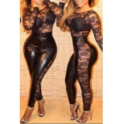 Sexy Lace Spliced PU Leather Round Neck Long Sleev