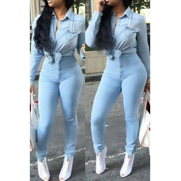 Stylish High-Waisted Button Fly Light Blue Denim Skinny Pants
