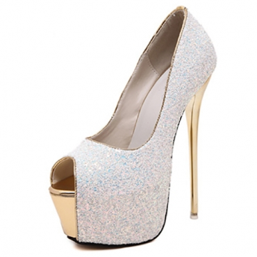 Stylish Round Peep Toe Sequined Design Stiletto Super High Heel White PU Basic Pumps