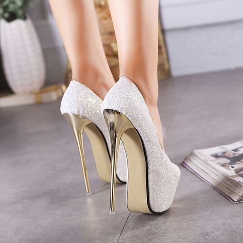 Elegante Round Peep Toe Design Sequined Stiletto Super High Heel Branco PU Bombas Básicas