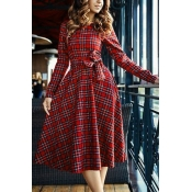 British Style O Neck Long Sleeves Plaids Print+Bow