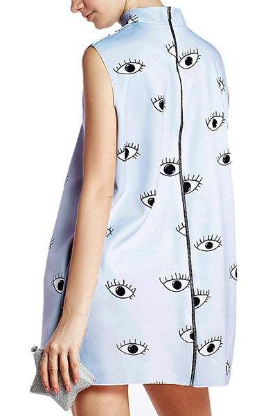 Trendy Turtleneck Tank Sleeveless Eyelash Print Light Blue Polyester Mini Dress