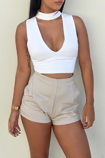 Sexy O Neck Sleeveless V-Shaped Hollow-out White Tank Top