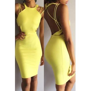 Sexy O Neck Spaghetti Strap Sleeveless Backless Yellow Cotton Blend Sheath Mini Dress