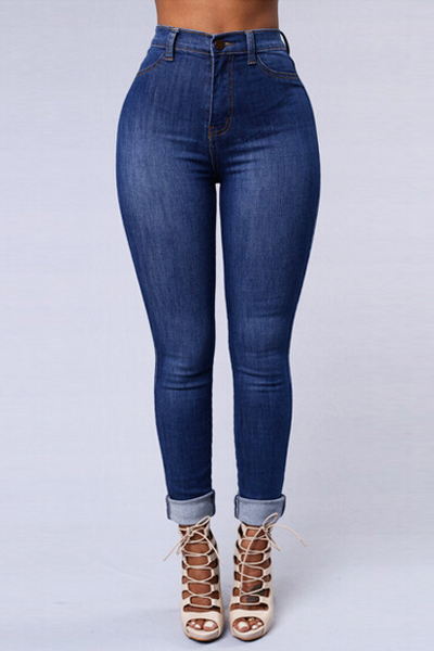 Trendy Mid Waist Button Fly Blue Denim Skinny Jeans