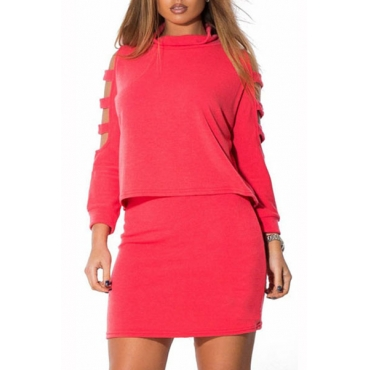 Stylish O Neck Long Sleeves Shoulder Hollow-out Rose Cotton Blend Two-piece Skirt Set