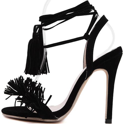 Stylish Lace-up Tassel Design Stiletto Super High