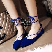 Stylish Pointed Closed Toe Bandage Low Heel Blue P