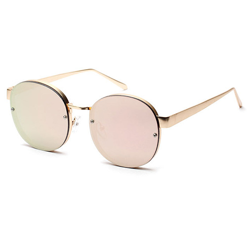 Chic Round-shaped Semimetal Decorative Sakura Pink Sunglasses