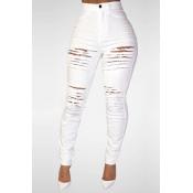 Модные высокие талии Разбитые отверстия Белый джинс Skinny