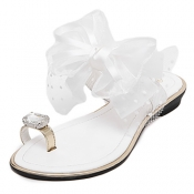 Trendy Open-toe Bow-tie Decorative Low Heel White