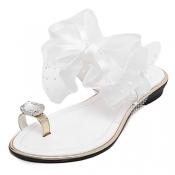 Trendy Open-toe Bow-tie Decorative Low Heel White