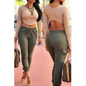 Stylish O Neck Long Sleeves Back Zipper Design Spa