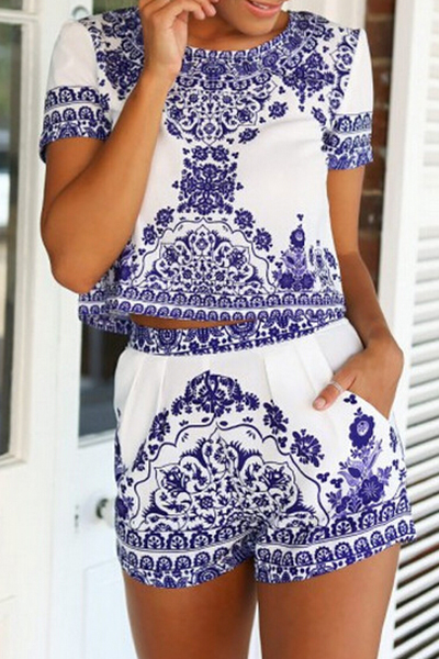 Stylish O Neck Short Sleeves Printed Blending Two-piece Shorts Set