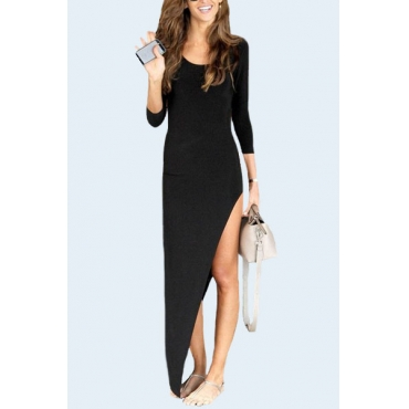Fashion O Neck Three Quarter Sleeves Asymmetrical Black Spandex Sheath Ankle Length Dress