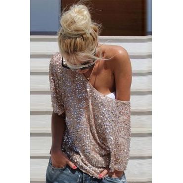 Stylish O Neck Half Sleeve Sequins Collage Blousing Blouse