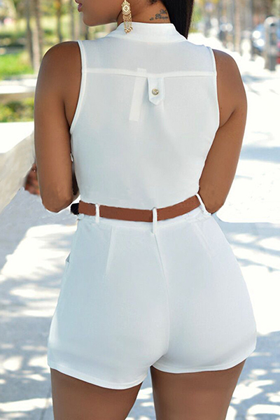 Moda de cuello redondo sin mangas botón de diseño de poliéster blanco monos de una sola pieza (con cinturón)