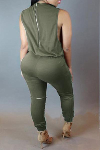 Stylish Round Neck Sleeveless Broken Holes Zipper Design Army Green Polyester One-piece Jumpsuits